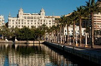 Harbour promenade at Alicante port  Alicante, Costa Blanca, Valencian Community, Spain, Europe