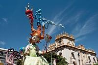 Foguera monument, Hogueras de San Juan, Fogueres de Sant Joan festival  Alicante City, Costa Blanca, Spain, Europe