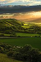 England, West Sussex, Fulking Escarpment. Sunset over Fulking Escarpment in the South Downs National Park.