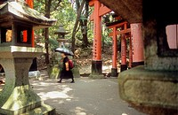 Lanterns and Torii gates line at Fushimi Inari-Taisha sanctuary,Kyoto, Japan