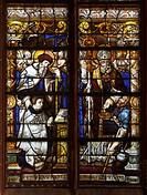 Glasfenster im Chorraum, linkes Chorfenster unten