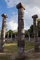Large patio with stone columns, El Mercado in the Late Classic Maya ruins of Chichen Itza, Yucatan Peninsula, Mexco
