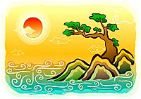 sunrise, rock, sun, tree, pine tree, scene