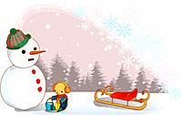 teddy bear, snow, tree, sled, snowflake, landscape