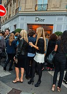 Paris, France, Group Female Teenagers in Fancy Dress, Shopping at Fashion Night, Ave Montaigne