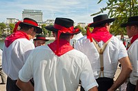 Paris, France, French Food and Wine Festival, Group Men in Traditonal French Costume, from Basque Region
