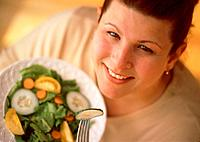 Smiling Woman with Salad