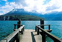 Wooden jetty at Lake Annecy, French Alps, France, Annecy