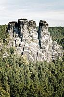Bastei with Kleine Gans rock formation, Elbsandsteingebirge Elbe Sandstone Mountains, Saxon Switzerland, Saxony, Germany, Europe