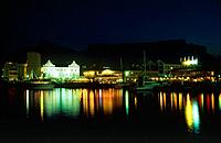Africa, Capetown, Victoria and Alfred Hotel in front of Table Mountain at night