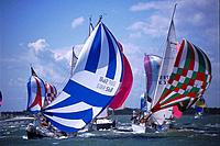 Yachts with Spinakers, Week Regatta, Cowes, Isle of Wight, England, Great Britain