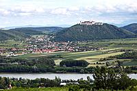Austria, Lower Austria, Wachau, Furth bei Goettweig, View of Goettweig Abbey with village and Danube river