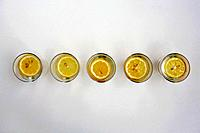 Slices of lemon in glasses of water