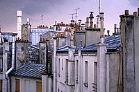 Paris apartments in the evening light, rooftops of Paris, romantic, Paris, France