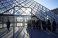 Louvre Museum with the Ieoh Ming Pei glass Pyramid, Paris, France