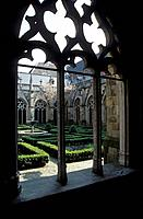 Window at cloister and view at monastery garden, Domkerk, Utrecht, Netherlands, Europe
