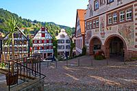 Half_timbered houses and town hall at the market place in the town of Schiltach, Valley Kinzigtal, Southern Part of Black Forest, Black Forest, Baden_...