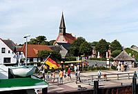 View at houses and harbour of Schaprode, Schaproder Bodden, Ruegen, Mecklenburg_Western Pomerania, Germany, Europe