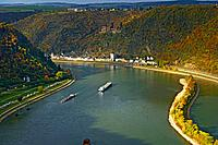 St.Goarshausen and Katz castle, Cultural Heritage of the World: Oberes Mittelrheintal since 2002, Mittelrhein, Rhineland_Palatinate, Germany, Europe