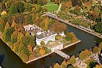 Aerial view of Bad Pyrmont castle and gardens, moat and palm garden, Lower Saxony, Germany