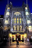 Illuminated Tuschinski Theater, Pathe Cinemas, Art deco cinema, entrance at Reguliersbreestraat, Amsterdam, the Netherlands, Europe