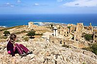 Ruins on Capo d´Occi above Algajola village, North_west coast, Balagne region, Corsica, France, Europe