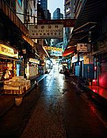 Fishmonger stalls in Soho District at night, Hong Kong, China