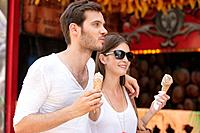 Couple eating ice creams, Paris, Ile-de-France, France (thumbnail)