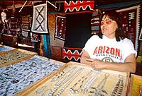 Navajo woman selling indian jewelleries, USA