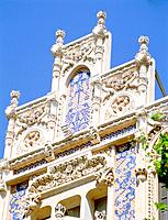 Art dco gable of the Grand hotel at Palma on Majorca Spain