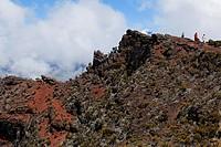 Pas de Bellecombe, Caldera under clouded sky, La Reunion, Indian Ocean