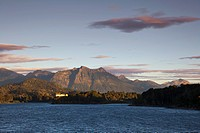 Morning light at Lago Moreno, view to the Llao Llao Hotel, Nahuel Huapi National park, near San Carlos de Bariloche, Rio Negro, Patagonia, Argentina