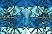 Glass roof of Lisbon Orient Station, Santiago Calatrava, Lisbon, Portugal, Europe