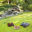 Japanese sandals on grass in garden