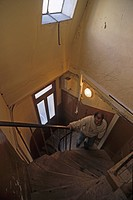 Service stairs, stairwell to attic flat, Paris, France