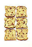 Raisin bread, slices