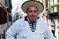 Cheerful gondolier, Gondolieri wearing traditional clothes, Venice, Veneto, Italy, Europe