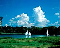 Yachts sailing on lake, Mazovia, Poland