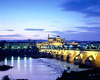 Illuminated old town of Cordoba with arch bridge in the foreground, Andalusia, Spain