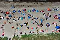 People on the beach of Graal_Mueritz, Germany, aerial photo