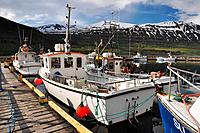 Fishing boats in Seydisfjordur harbour, East fjords, Iceland