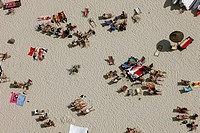 People at the beach resort at Baldeneysee, Essen, North Rhine_Westphalia, Germany, aerial photo