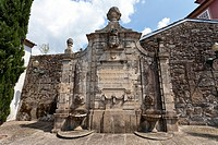 19th century fountain in the Historical Center medieval street of Guimaraes, Portugal  UNESCO World Heritage