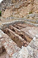 Hypocaust of the Baths of the Wall Thermae in Conimbriga, the best preserved Roman city ruins in Portugal