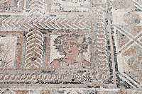 Roman mosaic portraying the Autumn Season Fall in the Roman City of Conimbriga, the best preserved Roman ruins in Portugal