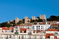 View of the Sao Jorge Castle from the Baixa of Lisboa Lisbon downtown  Portugal