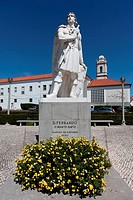 Infante Santo Statue in Santar&#233;m, Portugal  In the back the Escola Pr&#225;tica de Cavalaria Barracks