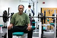 Senior Man in Exercise Room
