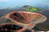 Hikers Visitors Mt  Etna Lava Rock Volcano Taormina Sicily Mediterranean Sea Island