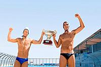 Winning water polo players